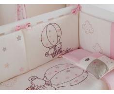 Pirulos Globo - Edredón, protector y cojín, 62 x 125 cm, color blanco y rosa