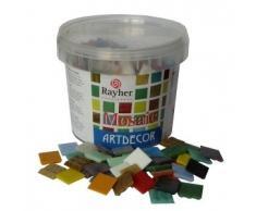 RAYHER - 1453149 - piedras de mosaico, 2 cm, cubo aprox 325 pcs/1 kg, varios colores