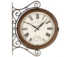 Smart Solar 5063020 - Reloj Greenwich station doble cara con termómetro, 38 x 38 x 5 cm, color blanco