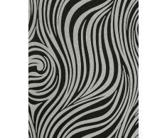 Papel pintado con patrón a rayas EDEM 1016-16 de cebra en negro y gris