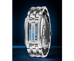 Reloj de pulsera para hombre, binario, a prueba de golpes, militar, correa de acero inoxidable, con 28 luces LED para la fecha y la hora, Women Silver