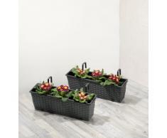 Jardinera para balcón de polyrattan incluye suspensión y sistema de riego,antracita, 12 mm, 2 piezas, 60 x 19 x 18 cm