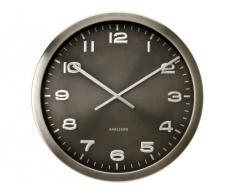 Present Time KA4462 - Reloj analogico de pared de cuarzo - Acero pulido gris