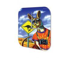 Reloj De Pared Gira Mundial Marke Canguro Turismo C·mara Australia Plexiglas Imprimido 25x25 cm