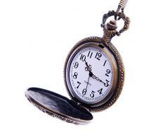"""Reloj de Bolsillo Modelo """"Caballos"""" con Mecanismo de Cuarzo de Reproducción Antigua, Esfera Blanca con Números Arábigos y Cadena Total Hunter de Diseño Vintage PW-46"""