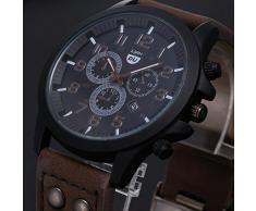 Tongshi Classic para hombre impermeable Fecha correa de cuero del cuarzo del deporte del reloj del Ejército (café)