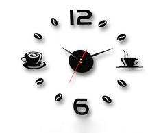 FEITONG Acrílico bricolaje auto-adhesivo de la pared interior Reloj creativo decoración Silencio (Negro)