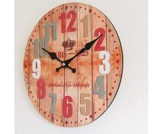 Perla pd diseño Reloj de pared, de cocina, diseño vintage, Diámetro aprox. 28 cm, madera, Paris Color
