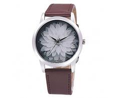 Sannysis Cuero Flor Band cuarzo analógico Dial reloj de pulsera (Café)