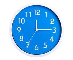 Binwo modernos colorido elegante con estilo silencioso para no marcando Inicio Cocina / sala de estar del reloj de pared 10 pulgadas (Azul)