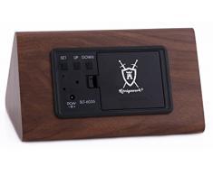 Konigswerk nuevo control Triangular de sonido USB/AAA funciona con pilas LED de madera Alarma Digital Escritorio reloj despertador con termómetro calendario automático del brillo ajuste