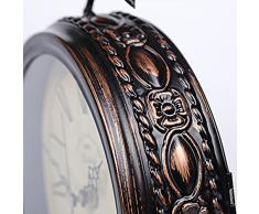 Reloj de cuarzo de sobremesa Retro Nostalgia Reloj silencioso Sala de estar hierro pájaro reloj artesanal Decoración de escritorio-E