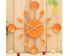 Bluelover Decoración de cocina cubiertos utensilios pared reloj cuchara tenedor Home-naranja