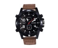 Relojes Hombre,Xinan Correa de Lona Grande Dial Deporte Militar Cuarzo Reloj de Pulsera (Café)