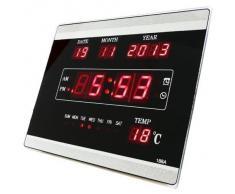 Reloj de pared digital LED Cuarzo Fecha temperatura Bar Cafetería Kiosko LED