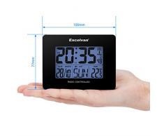 Excelvan AOK 2805 - Precisión Despertador Alarma Reloj Radio controlado Digital (Horario Ajustable Automatico, Termómetro, Temperatura, Calendario, Pared Montable y Soporte de escritorio), Negro