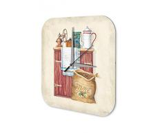 Reloj Pared Restaurante Cocinas Gabinete molinillo de café y granos de café Plexiglas