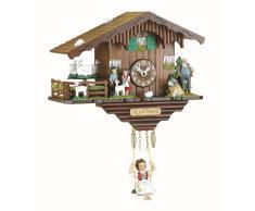 Kuckulino Reloj en miniatura de la selva negra casa suiza cuarzo con cabras que da vueltas y llamada del cucú, incluye batería TU 2020 SQ