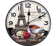 Tinas Collection - Reloj de pared para cocina (30 cm), diseño de taza de café con fondo de París