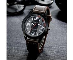 Rcool Relojes de Lujo del reloj de los hombres del diseño retro relojes del cuarzo del acero inoxidable del cuero de los relojes (Café)