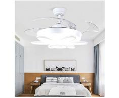 LIXDD Luz Blanca Moderna del Ventilador de Techo, luz Simple Acrílico Pantalla Pantalla Abanicos de Techo Ventiladores de 42 Pulgadas Fábrica para la Sala de Estar de Oficina Dormitorio Lámpara