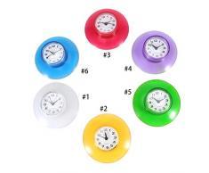 No-tictac Silent Wall Clock - Reloj Digital de Cuarzo Impermeable Mini Cute Design Cuarto de Baño Cocina de Aspiración de Ducha Uso de la ducha 6 Colores ( Color : Púrpura )