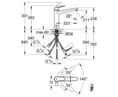 Grohe Eurodisc Cosmopolitan - Batería para fregadero (caño plano)