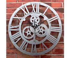 Relojes de pared, Finer Shop Vintage grande del engranaje del arte rústico Reloj de pared Para Home Office Bar Cafe 30cm - Silver