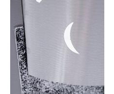 Lohoart R-169-2 - Reloj sobre lienzo pintado artesanal, reloj de pared rectangular, color Blanco y Plata, medidas: 40 X 80 cm