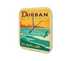 Reloj De Pared Gira Mundial Marke Playa de Sud·frica Durban surfista Plexiglas Imprimido 25x25 cm