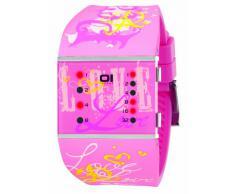 The One SLSL138R3 - Reloj binario de cuarzo para mujer con correa de caucho, color rosa