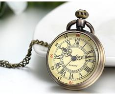 Jewelrywe reloj de bolsillo de cuarzo número romano collar de la aleación del bronce de la vendimia