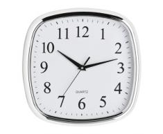 Premier Housewares - Reloj de pared cuadrado (borde cromado, 29,5 x 29,5 cm), color blanco