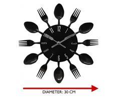Funky Black Fork Spoon cubertería Carlos cocina reloj de pared (SCL03)