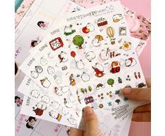 LAAT Historieta Pegatinas Etiqueta engomada del conejo Niños pegatinas pegatinas lindas Decoración de libros 6pcs