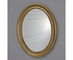 elbmöbel - Espejo de pared, ovalado, madera, dorado, 37 x 47cm