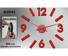 DonRegaloWeb - Reloj de cocina - Reloj de pared redondo de metal y melamina en color rojo con números adhesivos.
