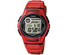 CASIO W2134AVES - Reloj de caballero automático, correa de resina color rojo