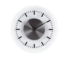 Unilux OnTime - Reloj de pared (AA, 1,5V, Cromo, Transparente, Color blanco, Acero inoxidable, De plástico, 30,5 cm)