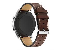 Malloom Banda repuesto cuero reloj pulsera correa para Samsung Gear S3 Frontier (Café)