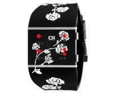 The One SLSL135R3 - Reloj binario de cuarzo unisex con correa de caucho, color negro