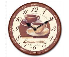 """Tinas Collection - Reloj de pared (30 cm de diámetro), diseño retro de dos tazas de café con texto """"Cappucino"""""""