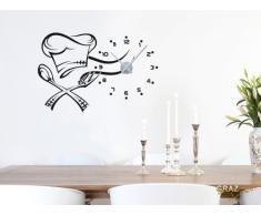 Decorativo para pared - cubertería con gorro de chef y reloj, negro, reloj, plateado
