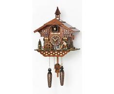 Reloj cucú de cuarzo Casa de la selva negra con leñador y rueda de molino que se mueve, con música, incluye baterías TU 4217 QM