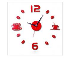 Ularma BRICOLAJE pared Interior adhesivo auto decoración creativa mudo reloj de acrílico (rojo)