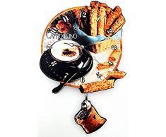 RELOJ DE PARED DISENO MODERNO CAPPUCCINO CAPUCHINO SACO DE CAFE - CUARZO - Tinas Collection