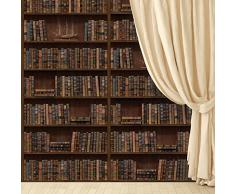 WALPLUS Pegatina de Mural de Pared Flexible, marrón, de 264 x 232 cm Vintage Library