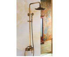 """GOWE 8 """"redondo latón envejecido lluvia alcachofa de ducha válvula de grifo mezclador monomando para grifo ducha de montaje en pared"""