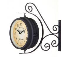 Reloj de estación tradicional Home Line, uno de los lados en Reloj y el otro lado Termómetro (27x10,50x37,50)