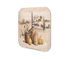Reloj De Pared Gira Mundial Marke Pintura de oliva jarra de aceite Plexiglas Imprimido 25x25 cm